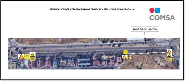 Señalización de obra por tratamiento de taludes en la Avenida de Valdearganda